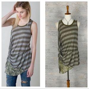 Gimmicks by BKE twisted hem striped lace tank top